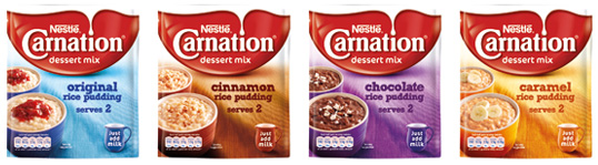 Image of Carnation Rice Pudding tins in Original, Cinnamon, Chocolate and Caramel flavours