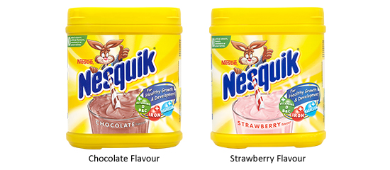 Nesquik Chocolate and Strawberry Flavour Packshot