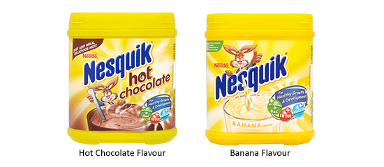 Nesquick Hot Chocolate and Banana Flavour Packshot