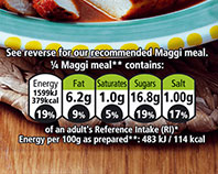 Maggi package nutrition guide