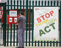 Stop think act campaign poster
