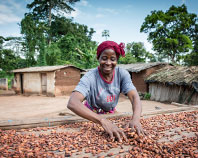 Woman working with cocoa beans