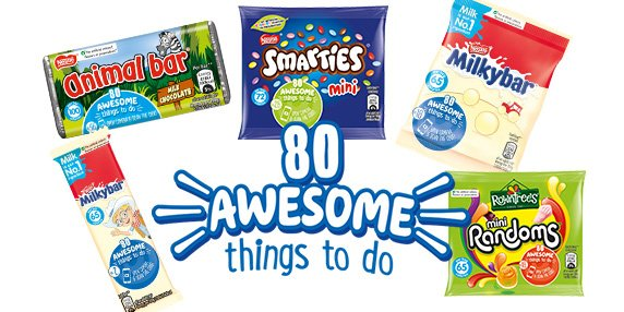 80 awesome things to do nestle's confectionery on-pack promotion