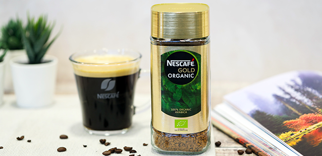 nescafe gold organic coffee on the-table