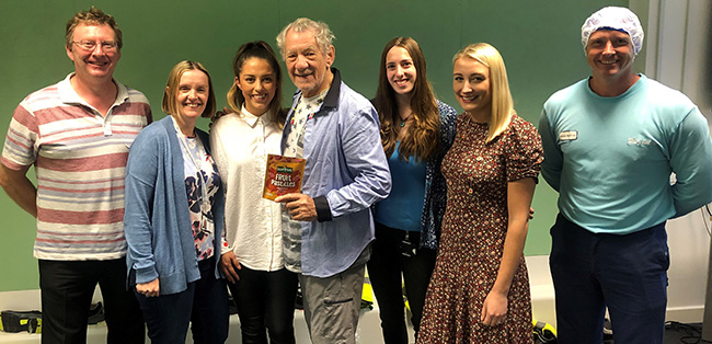 nestle fawdon team with sir ian mckellen group pic