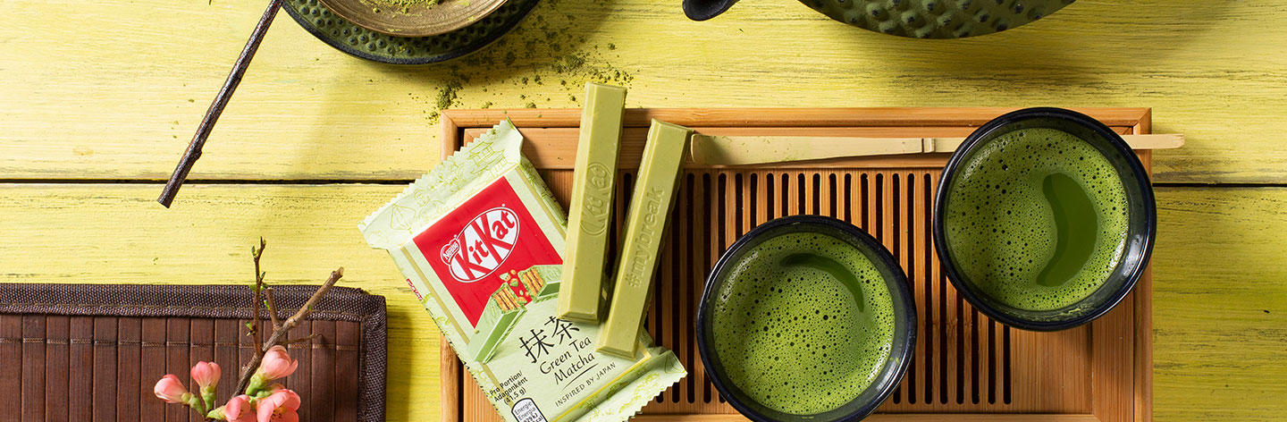 green tea matcha kitkat bars pack on chinese tea ceremony set